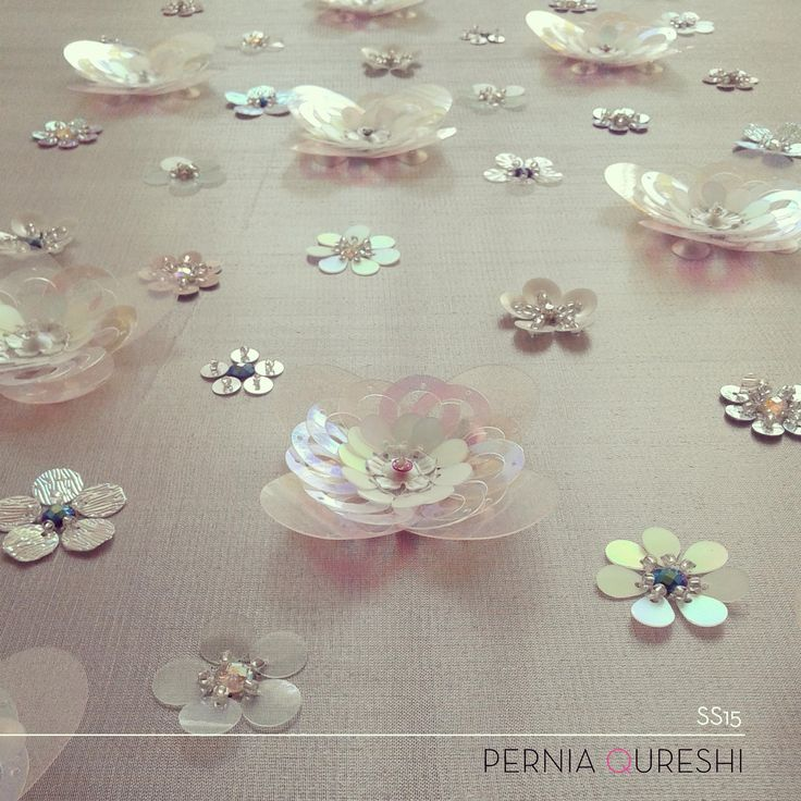 Pernia Qureshi | 3D sequin flower embroidery