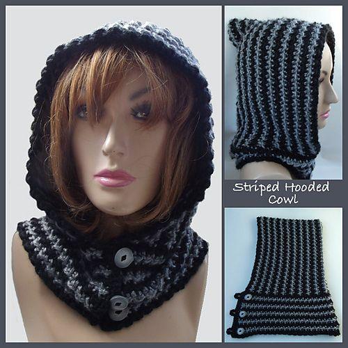 Free Ravelry: Striped Hooded Cowl pattern by Rhelena's Crochet Patterns