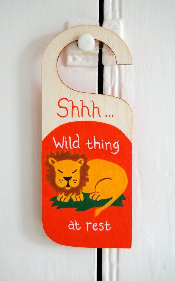 Personalized Lion door sign, Safari nursery door hanger, Jungle nursery decor, Zoo nursery sign, personalised door, kid's bedroom - orange