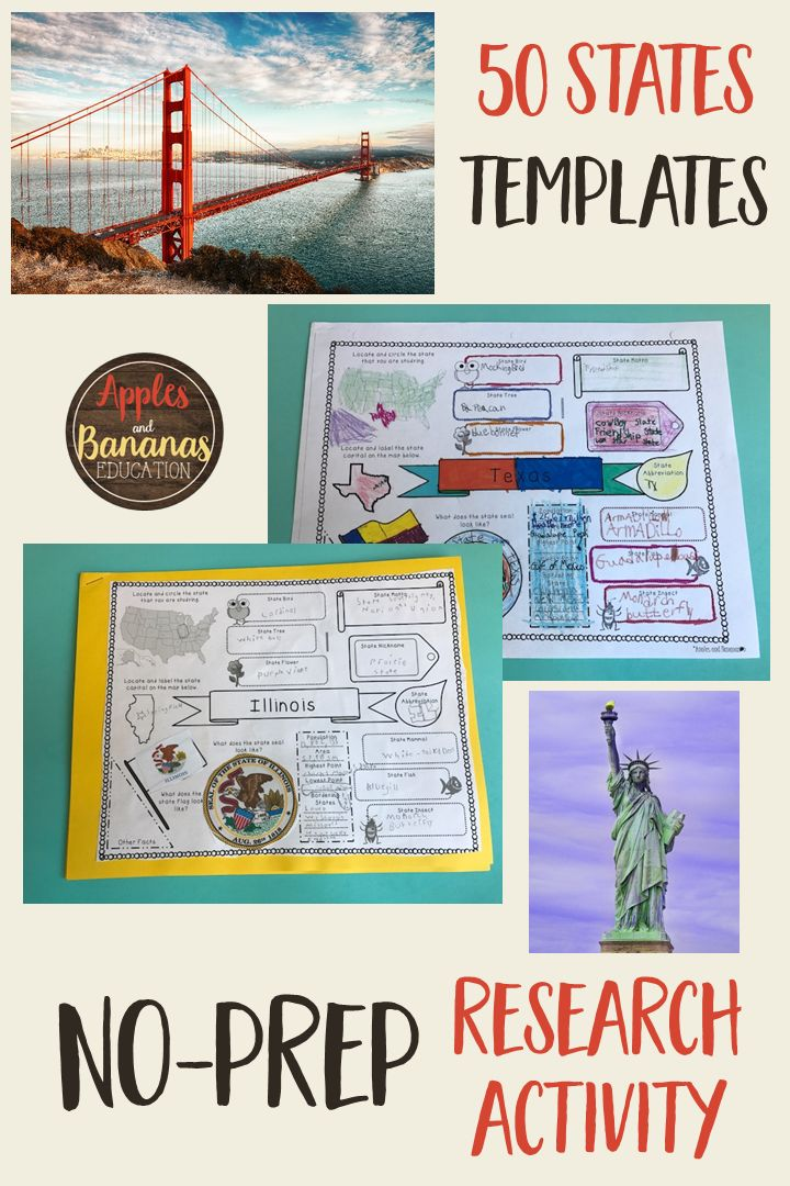 50 States Research Templates with answer keys! Help your students choose and research a state. This is a great way to help them organize their thinking as they prepare to do a state report, or just hone their research skills. #50states #socialstudies