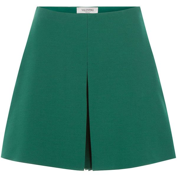 Valentino Wool-Silk A-Line Shorts found on Polyvore featuring shorts, skirts, bottoms, pants, green, tailored shorts, high rise shorts, green high waisted shorts, highwaist shorts and high-rise shorts