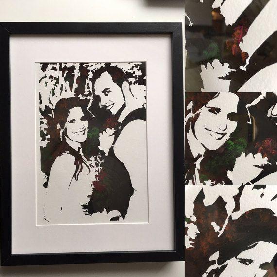 Wedding picture paper cut with acrylic by PapirKlippKompaniet