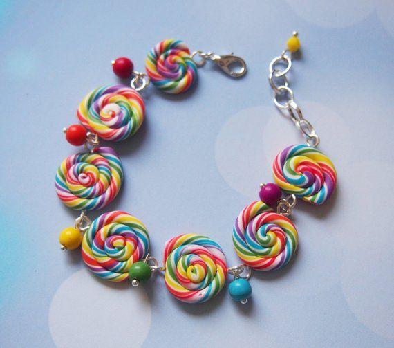 Rainbow Bracelet Lollipop Swirl Miniature Food Polymer Clay Colourful Gift