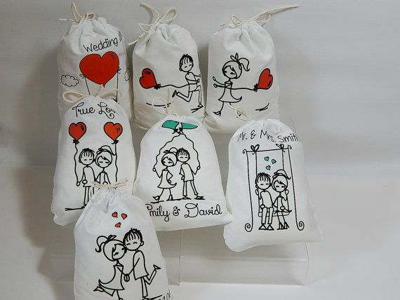 Adorable Wedding party bags with Loving Stick figures in very cute images, These are perfect size bags for treats or gifts available in 5 x 7 or 6 x 8. These Favor bags can be personalized with Couples names or any special date or Quotes on the top or bottom. Please Leave me a note in the note to seller box at checkout with what you would like personalized on bags and font style, font list located on the last picture of the listing. If there is no note I will assume you would NOT like your…