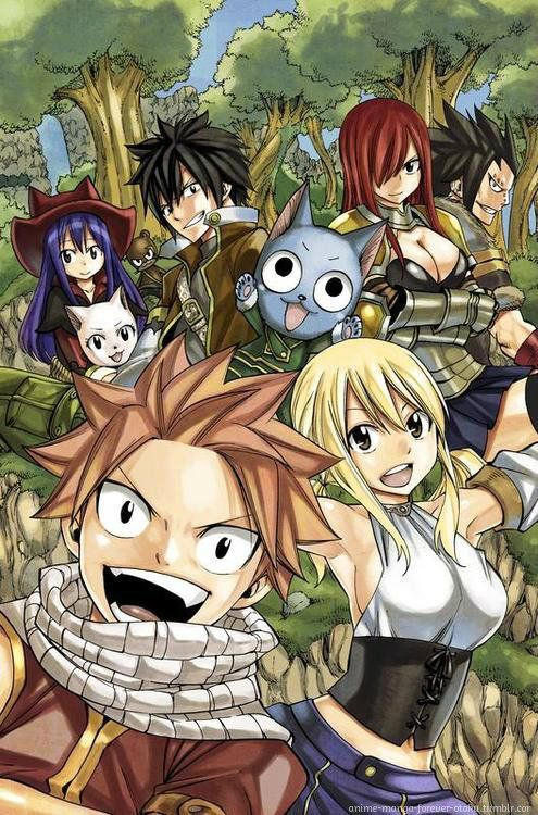 Wendy, Lily, Gray, Erza, Gajeel, Carla, Happy, Natsu, and Lucy