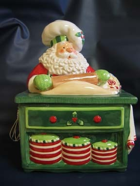 Fitz and Floyd Baking Santa Cookie Jar Luv cookie jars,  this was our Christmas one with the accessories.