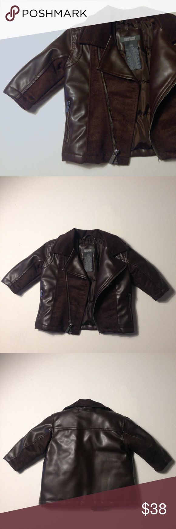 NWOT Kenneth Cole Reaction Brown Leather Jacket NWOT Kenneth Cole Reaction Brown Leather Suede Jacket. Baby Boy Leather Jacket Coat. Suede detailing, Zipper Front Closure, 2 Side Pockets. NWOT - New without Tags, Tags Removed, Excellent Condition - No Flaws No Fading. ✨Please keep in mind that measurements are provided only as a guide and are approximate. Color appearance may vary depending on your monitor settings. Retail $100.00 Kenneth Cole Reaction Jackets & Coats