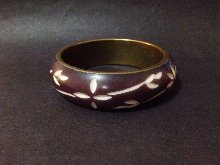 Estate Find - Engraved Resin? / Wood? Bangle with Brass Inside