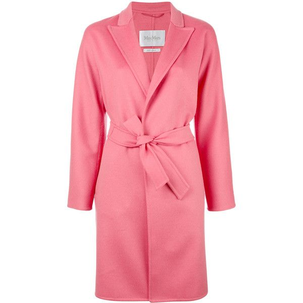 Max Mara peaked lapel belted coat (2,875 BAM) ❤ liked on Polyvore featuring outerwear, coats, pink, belt coat, maxmara, coat with belt, belted coat and red coat