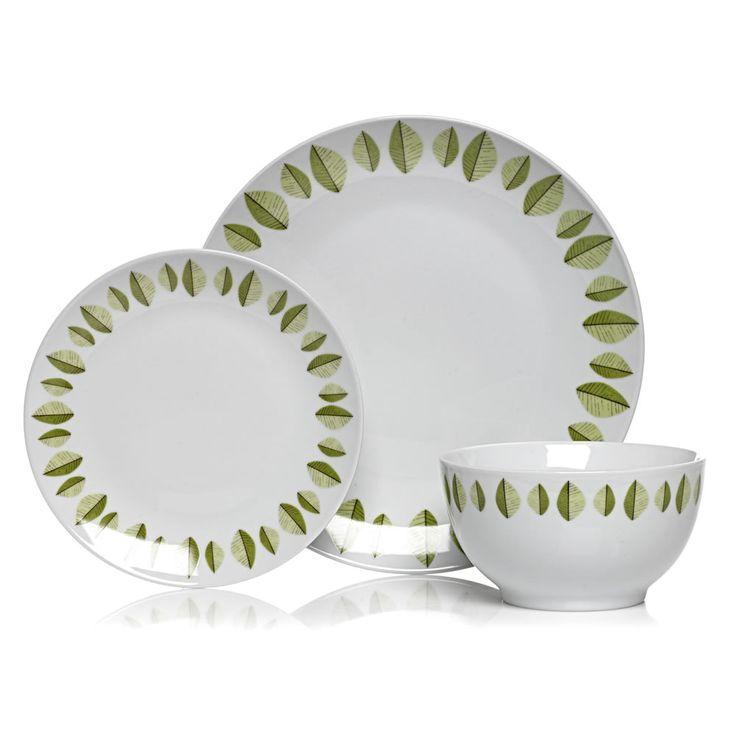 Wilko Dinner Set Sustain Leaf Olive Green/White 12 Pieces at wilko.com