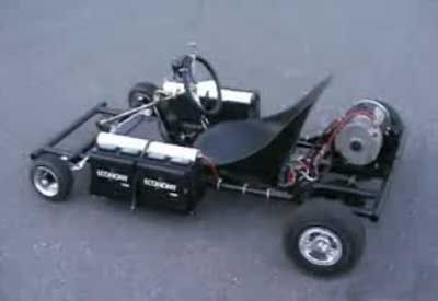 This home made electric go-kart is powered by 12V car batteries and the frame was made from Home Depot's gas pipes. Its quiet, fast and can do donuts but stil