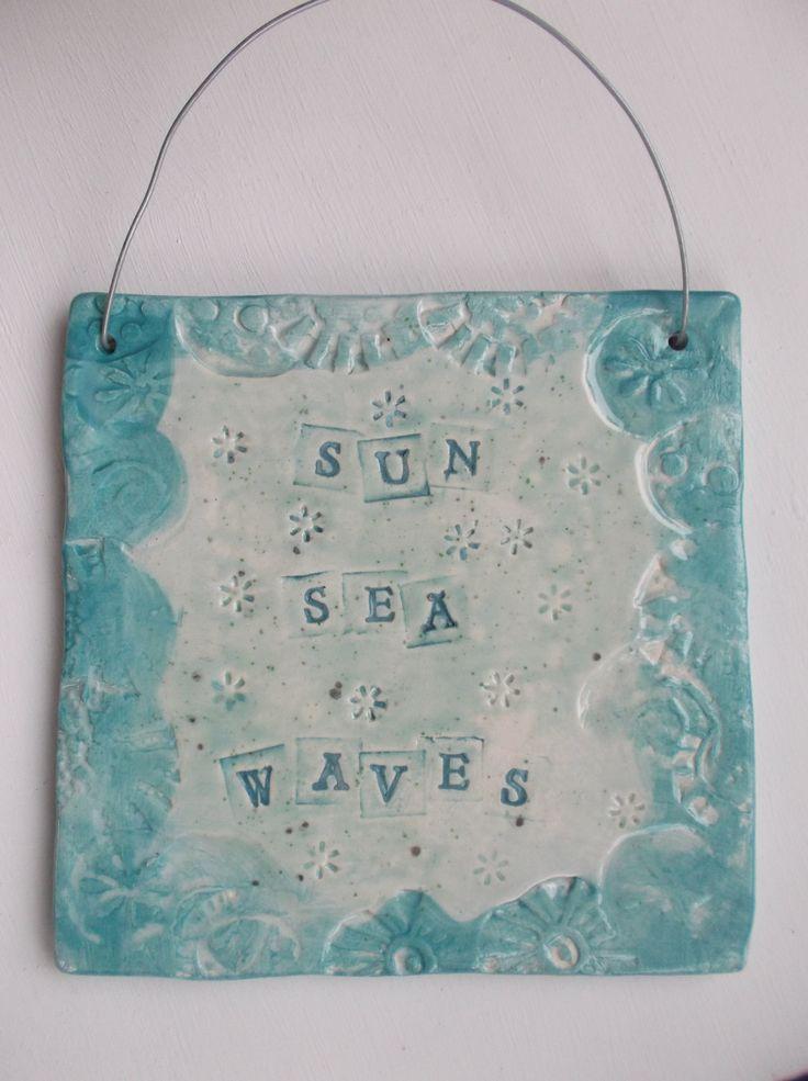 Coastal art, ceramic tile Sun, Sea, Waves, coastal decor, coastal interior by SkelligPotteryShop on Etsy