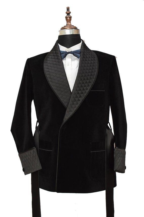 Mens Quilted Smoking Jacket Black Velvet Smoking Blazer Hosting Evening Dinner Party Wear Jacket Groom Wear Quilted Coat Smoking Belted Coat