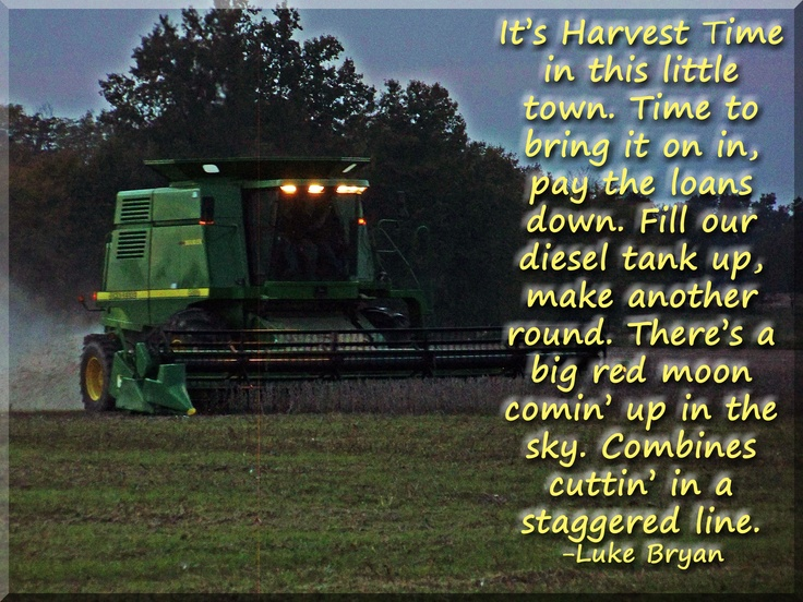 John Deere Combine cutting beans with Luke Bryan's Harvest Time Lyrics