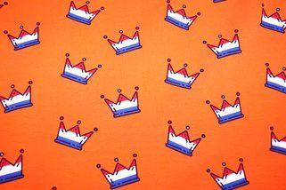 Tricot kroontjes oranje/rood/wit/blauw Prijs per meter:  9,95 oranje stof NB17 3474-036