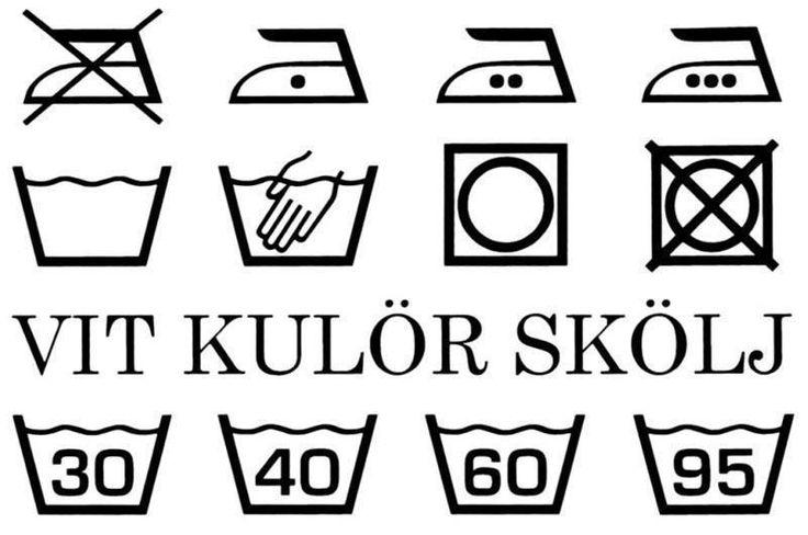 Väggord - Tvätt symboler med text