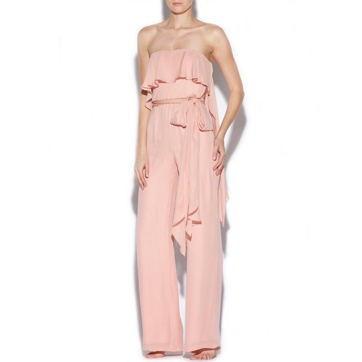 HALSTON HERITAGE Strapless pink silk jumpsuit - £455