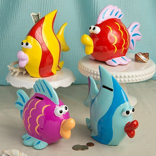 Kids' Vanities - Adorable Ceramic TROPICAL FISH Savings BANKS  HAND Painted  Googly Eyes  Big Lips PIGGY Banks GIFT Boxed YELLOW  Red Striped 9 x 6 12 >>> Want additional info? Click on the image.