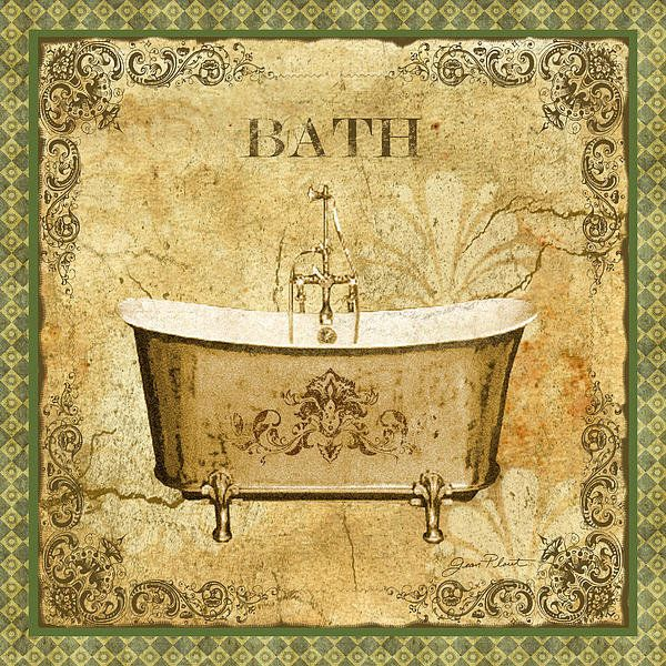 Vintage Bath Print By Jean Plout Laminas Decoupage Ba 209 O