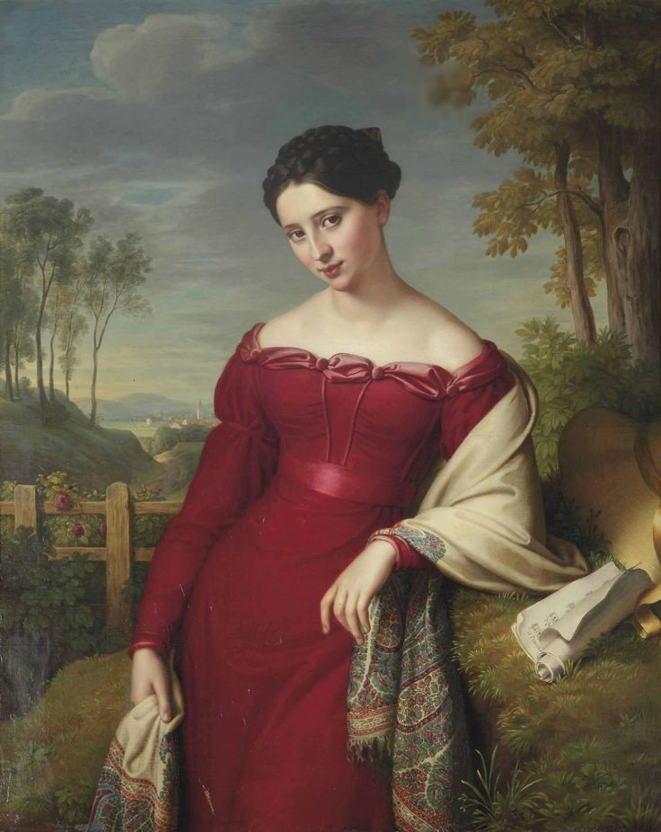 Potrait of a young elegant lady, three-quarter length, in a red dress with an embroidered shawl, standing in a landscape (1824). Eduard Friedrich Leybold (German, 1798-1879). Oil on canvas.