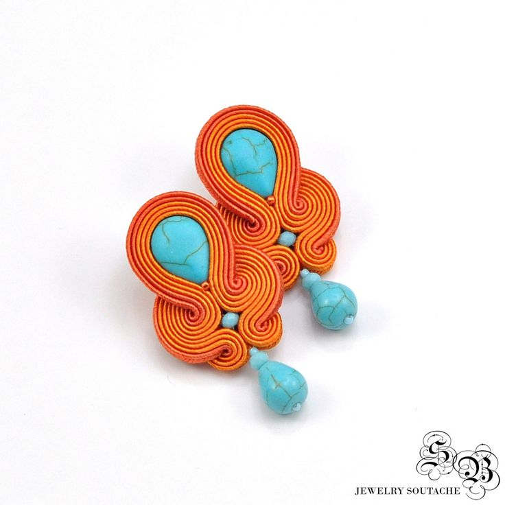 Orange Turquoise Soutache Earrings, Soutache Stud Earrings, Orange Blue Soutache…