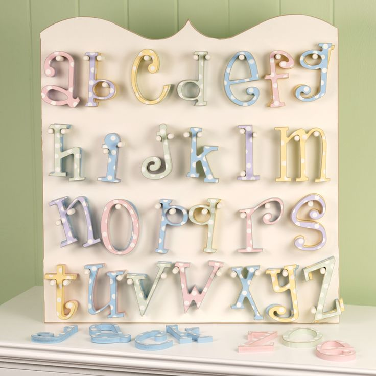Mix & match wooden polka dot letters for the baby's room!