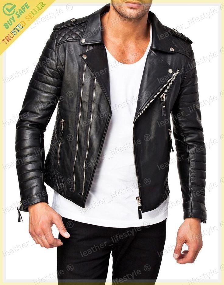 New Men's Genuine Lambskin Leather Jacket Black Motorcycle Jacket 2XS-3XL MJ10 #LeatherLifestyle #Motorcycle #PerfectforMotorcycleandWinter