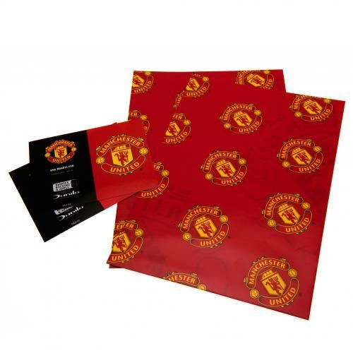 Two sheets of Manchester United wrapping paper and Man United gift tags in the traditional club colours and featuring the club crest. FREE DELIVERY on all of our gifts
