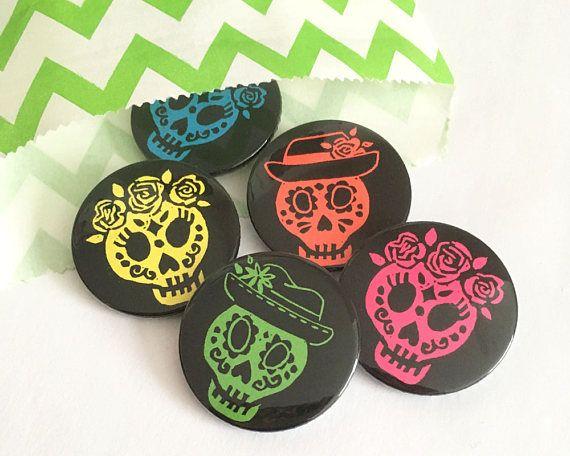 Sugar Skull Day of the Dead Button badges Dia De Los Muertos
