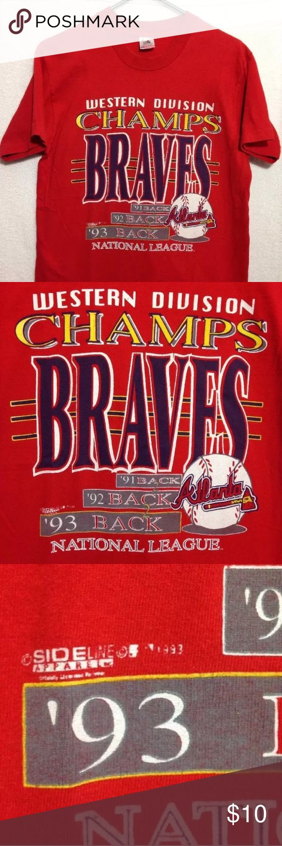 Vtg t-shirt Atlanta Braves 3 time champions 91-93 Here is a vintage t shirt from 1993 that commemorated their 3 back to back to back NL West division championships from 1991, 1992 and 1993.  Mens size medium. Still has nice color and would be a great throwback to wear to the new Suntrust Park on the home opener on April 14th.  Measurements: armpit to armpit: 19  inches length: 28  inches Fruit of the Loom Shirts Tees - Short Sleeve