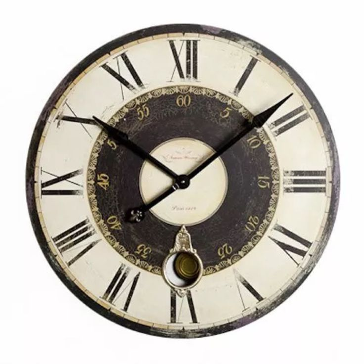 Belle Maison French Cream Gold Grey Kitchen Wooden Pendulum Wall Clock 74cm