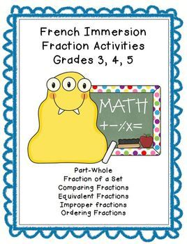 French Immersion Fraction Worksheets Grade 3, 4, 5 CUSTOMIZABLE (Microsoft Word), part-whole, fraction of a set, compare, order - $5.00