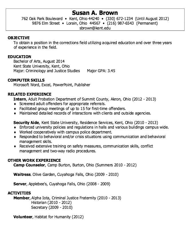 Correction Field Resume Sample - http://resumesdesign.com/correction-field-resume-sample/