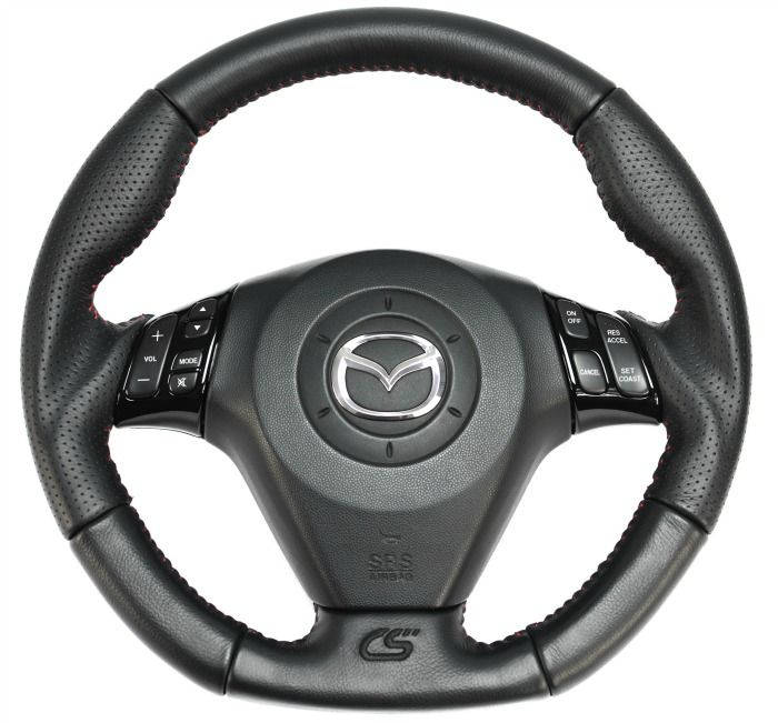 Our Mazdaspeed 3 and Mazda 3 steering wheel is crafted to be a direct OEM replacement.