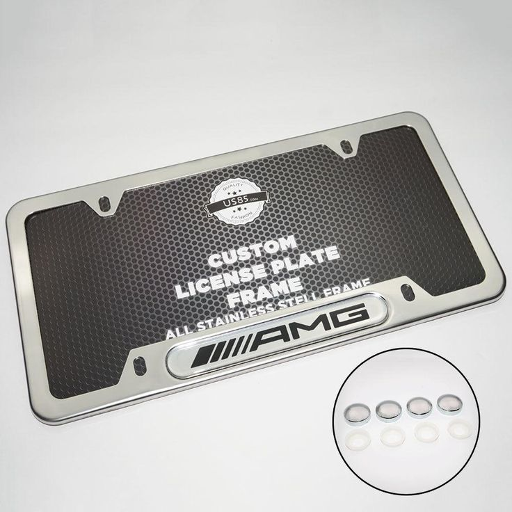 Black Stainless Steel Front Rear Emblem License Plate Frame Cover Gift AMG