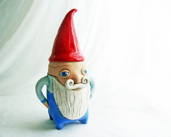 Gnome with long beard and Moustache Jar  Handbuilt Clay by Iktomi