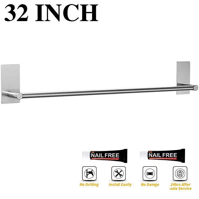 Luckin Self Adhesive Towel Rod 32 Inch Towel Bar Brushed Nickel Stick On Wall Towel Holder No Drill Towel Hanger Ra Bathroom Towel Rails Towel Bar Towel Rail