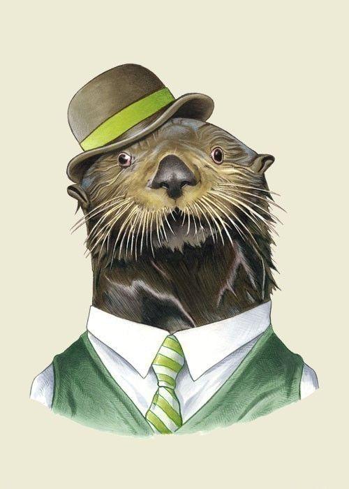 Sea Otter animal art print by Ryan Berkley 5x7