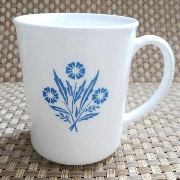Corning Cornflower Blue Coffee Mug HTF White Corelle Ware  #CorningCorelle #Vintage