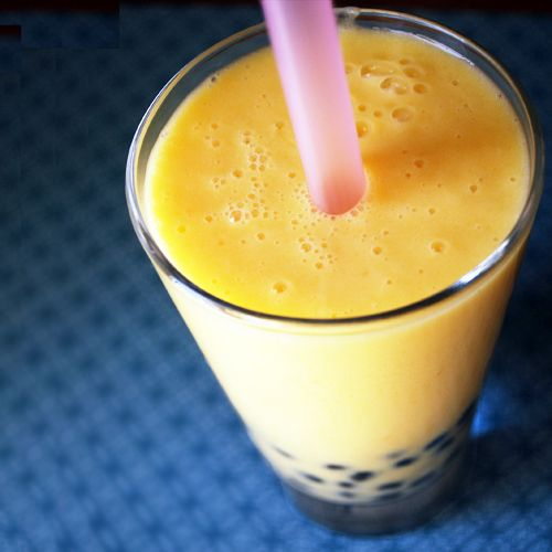 Mango Bubble Tea Recipe Beverages with frozen mango, milk, jasmine tea