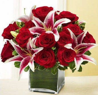 .Except I want all red roses with just ONE stargazer lily in the center!