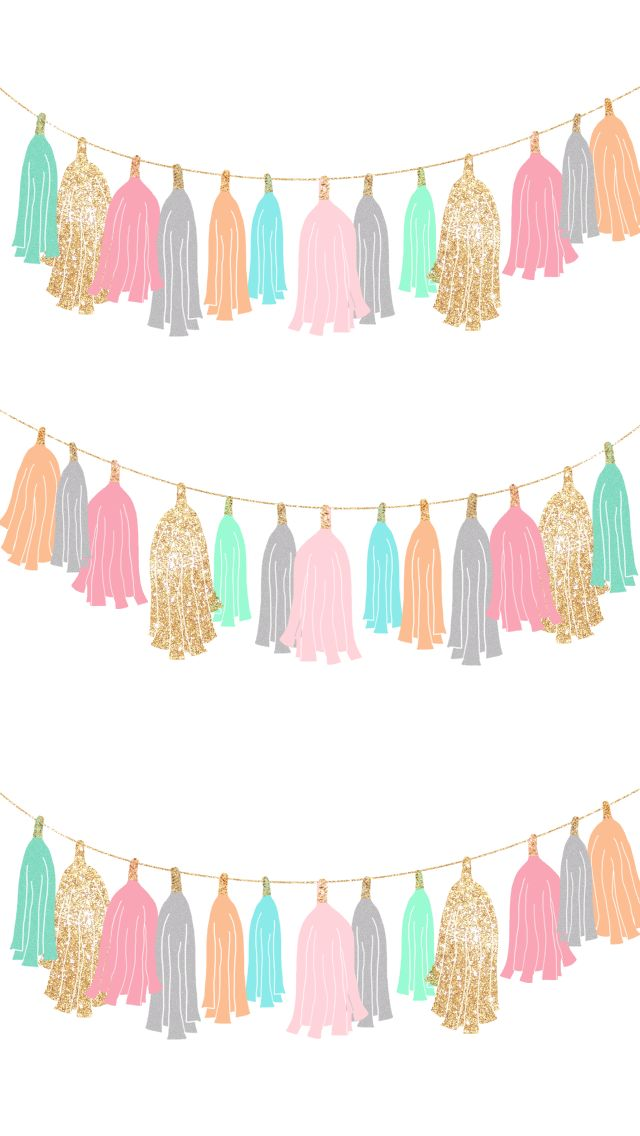 White Pastel gold fringe tassel garland iphone phone wallpaper background lock screen