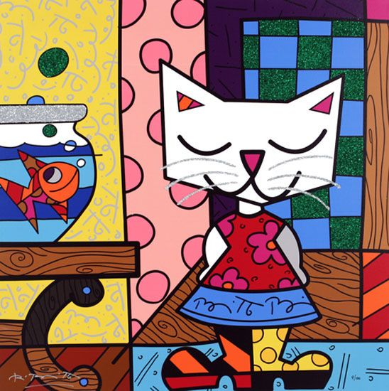 "Romero Britto: Good Friends 2007 Giclee on canvas Hand embellished by Romero Britto 26"" x 26"" Editon of 100"