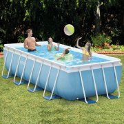 "Intex 16' x 8' x 42"" Rectangular Prism Frame Above Ground Swimming Pool with Filter Pump Image 1 of 4"