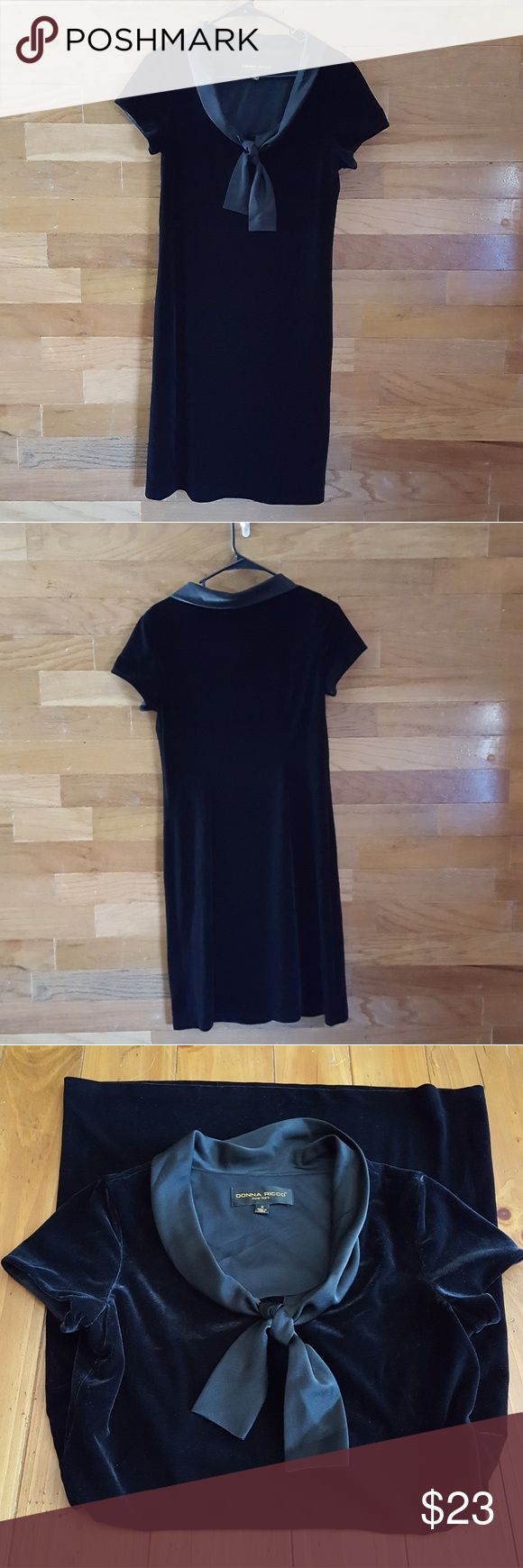 Donna Ricco New York dress Classy little black dress.  Looks like velvet but shell is made from 90% polyester, 10% spandex, trim 100% polyester, lining 100% polyester. In excellent condition Donna Ricco Dresses Midi