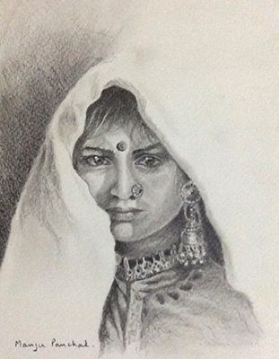 Graphite sketching of a beautiful woman.( sold work )   By Manju Panchal www.charcoalspastelsandmore.blogspot.in