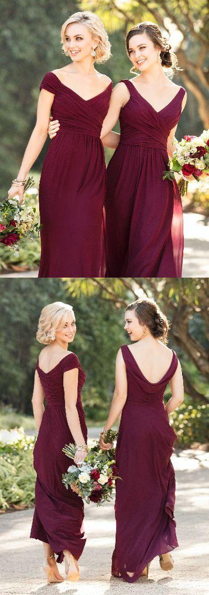 burgundy v neck bridesmaid dresses, mismatched maroon bridesmaid dresses, chiffon wedding bridesmaid dresses
