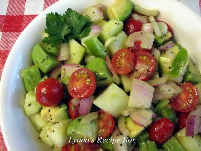 avocado, cucumber and tomato salad..yum
