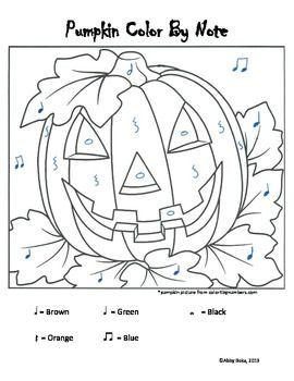 Pumpkin Color by Note Music Worksheets Pinterest