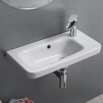 Bathroom Sink Rectangular White Ceramic Wall Mounted Or Self Rimming Sink Cerastyle 033000 U